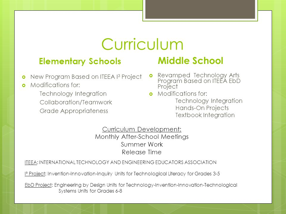 Staffing (Co-Teachers) Elementary Schools Technology Teachers To ensure technology integration Gifted & Talented Teachers To promote higher-level thinking Middle School Technology Teacher To innovate & support technology integration Technology Arts Teacher To ensure technology arts integration with problem solving & critical thinking activities