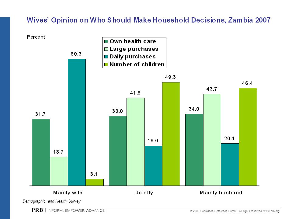 © 2009 Population Reference Bureau. All rights reserved. www.prb.org Demographic and Health Survey