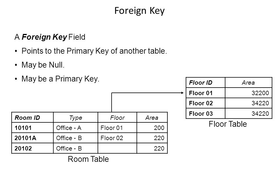 Room IDTypeFloorArea 10101Office - AFloor 01200 20101AOffice - BFloor 02220 20102Office - B220 Floor IDArea Floor 0132200 Floor 0234220 Floor 0334220 A Foreign Key Field Points to the Primary Key of another table.