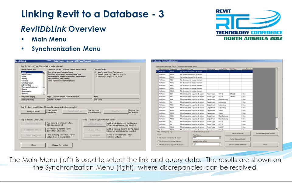 Linking Revit to a Database - 3 RevitDbLink Overview Main Menu Synchronization Menu The Main Menu (left) is used to select the link and query data. Th