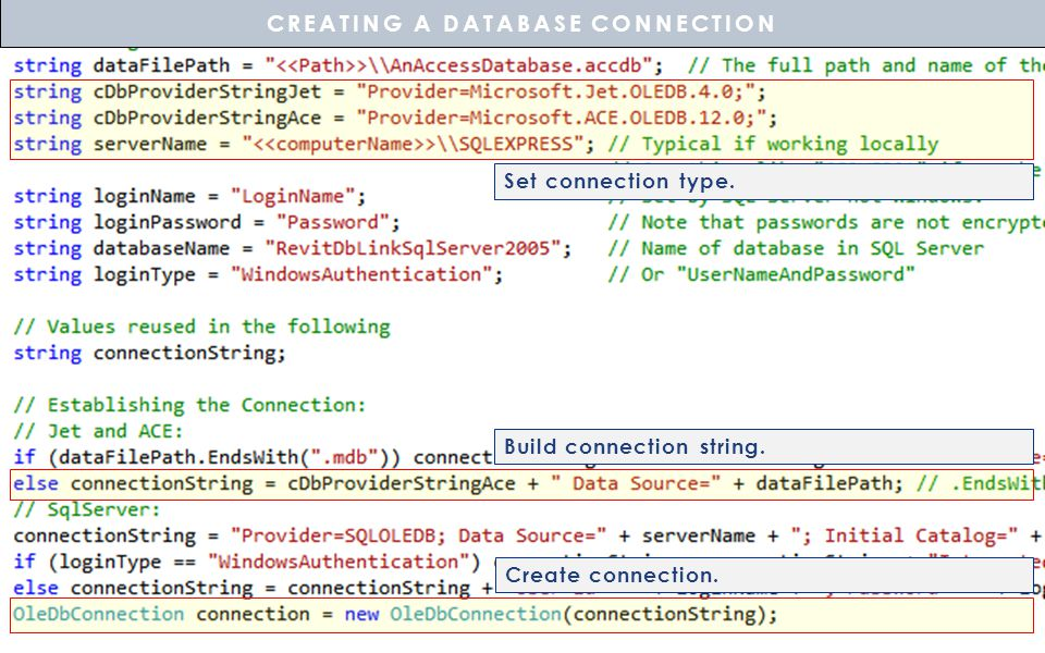 Build connection string. Create connection. CREATING A DATABASE CONNECTION Set connection type.