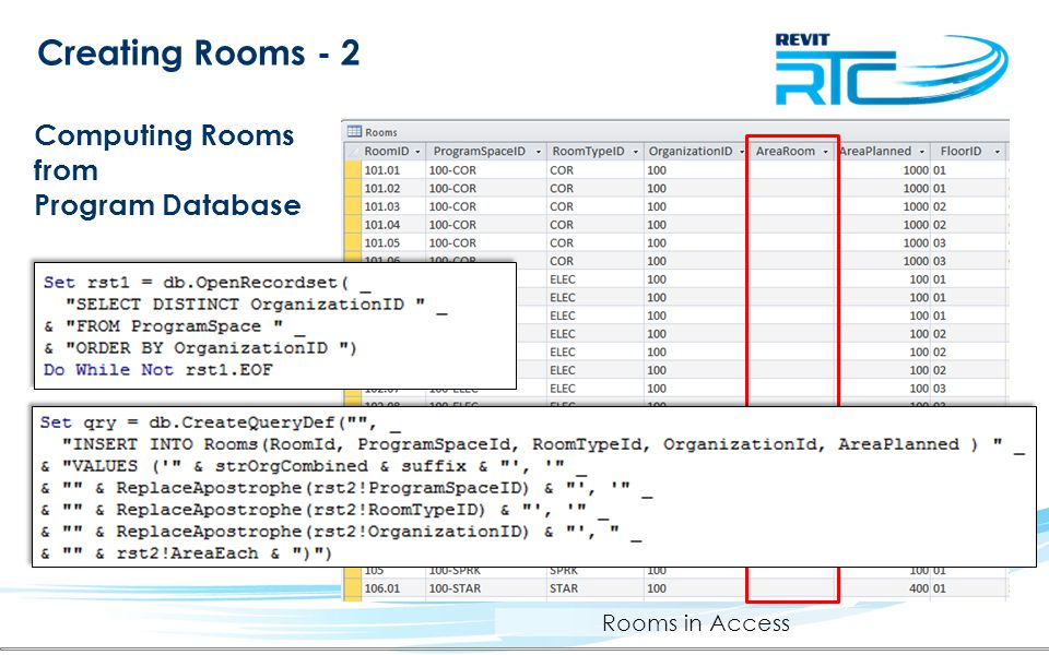 Creating Rooms - 2 Computing Rooms from Program Database Rooms in Access