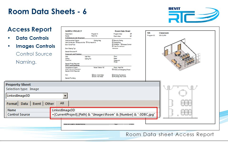 Room Data Sheets - 6 Access Report Data Controls Images Controls Control Source Naming.