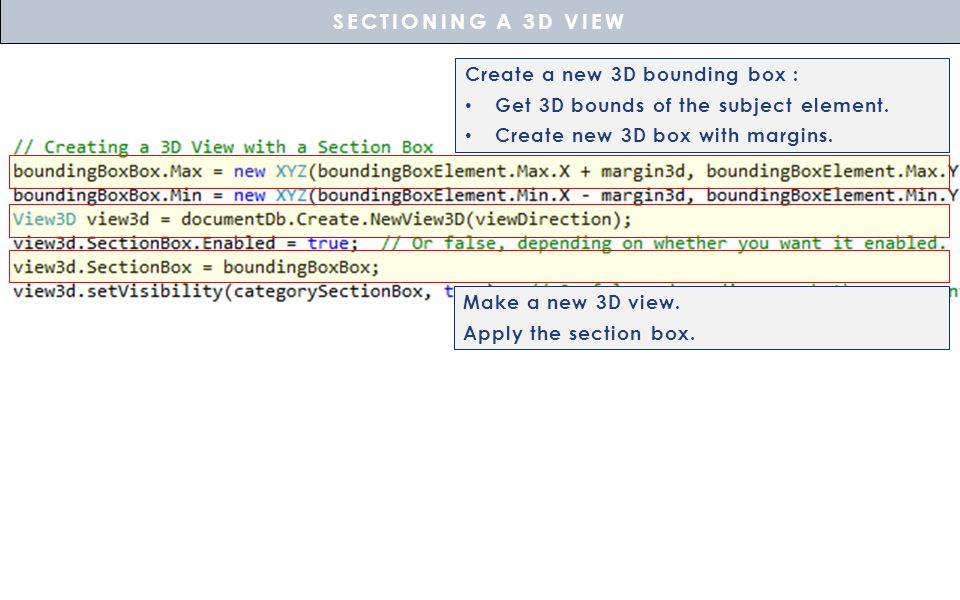 Make a new 3D view.Apply the section box.