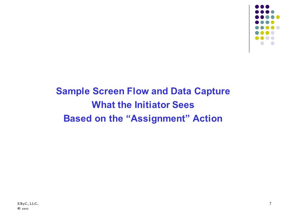 Sample Screen Flow and Data Capture What the Initiator Sees Based on the Assignment Action EB5C, LLC. © 2011 7
