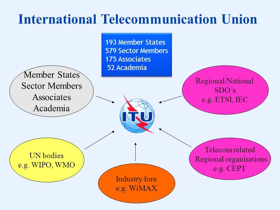 Member States Sector Members Associates Academia UN bodies e.g. WIPO, WMO Regional/National SDOs e.g. ETSI, IEC Telecom related Regional organisations