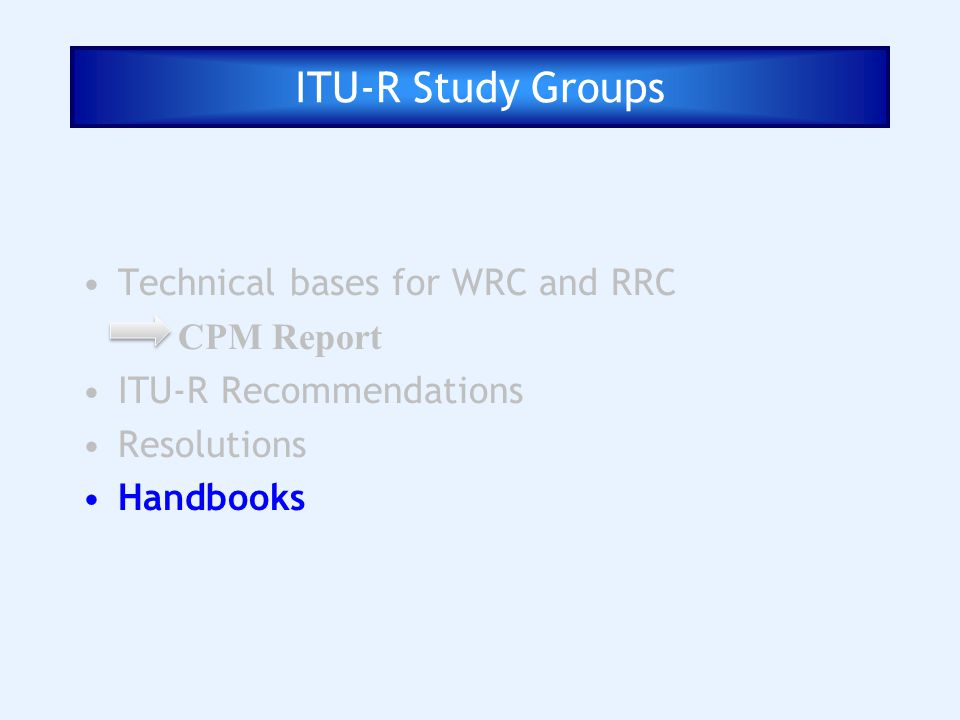 ITU-R Study Groups Technical bases for WRC and RRC CPM Report ITU-R Recommendations Resolutions Handbooks