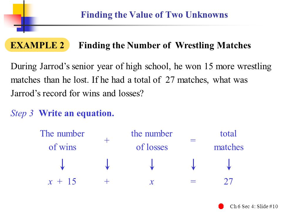 Ch 6 Sec 4: Slide #10 Finding the Value of Two Unknowns During Jarrods senior year of high school, he won 15 more wrestling matches than he lost.