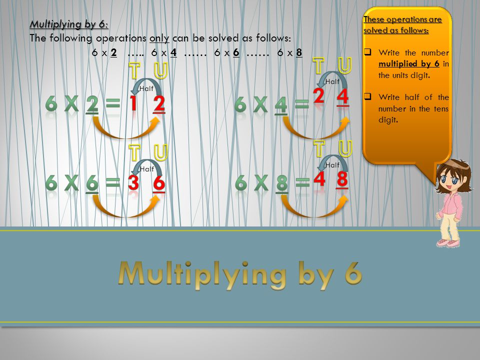 Multiplying by 6: The following operations only can be solved as follows: 6 x 2 …..