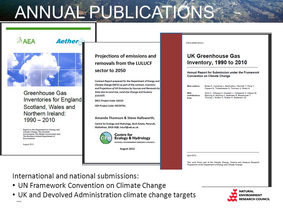 ANNUAL PUBLICATIONS International and national submissions: UN Framework Convention on Climate Change UK and Devolved Administration climate change targets