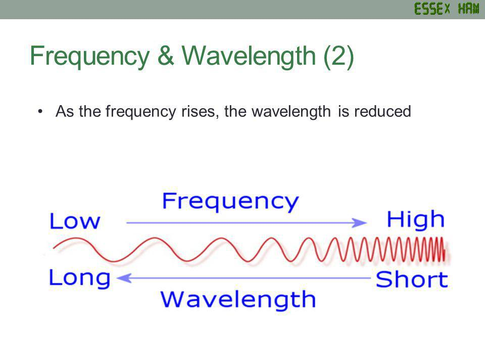 Frequency & Wavelength (2) As the frequency rises, the wavelength is reduced