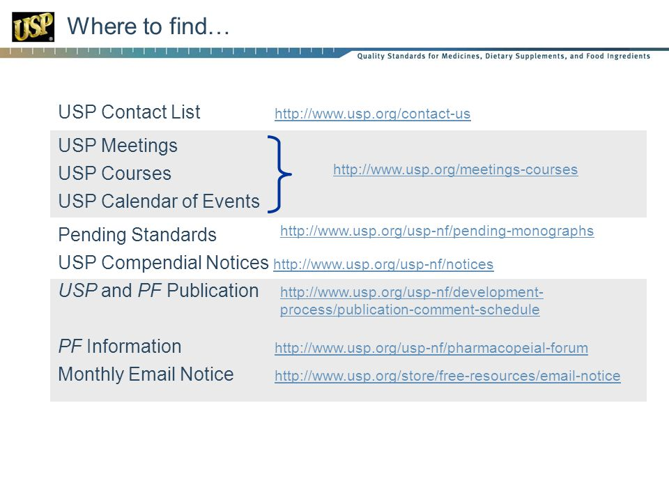 Where to find… USP Contact List http://www.usp.org/contact-us http://www.usp.org/contact-us USP Meetings USP Courses USP Calendar of Events Pending Standards USP Compendial Notices http://www.usp.org/usp-nf/notices http://www.usp.org/usp-nf/notices USP and PF Publication PF Information http://www.usp.org/usp-nf/pharmacopeial-forum http://www.usp.org/usp-nf/pharmacopeial-forum Monthly Email Notice http://www.usp.org/store/free-resources/email-notice http://www.usp.org/store/free-resources/email-notice http://www.usp.org/usp-nf/pending-monographs http://www.usp.org/meetings-courses http://www.usp.org/usp-nf/development- process/publication-comment-schedule