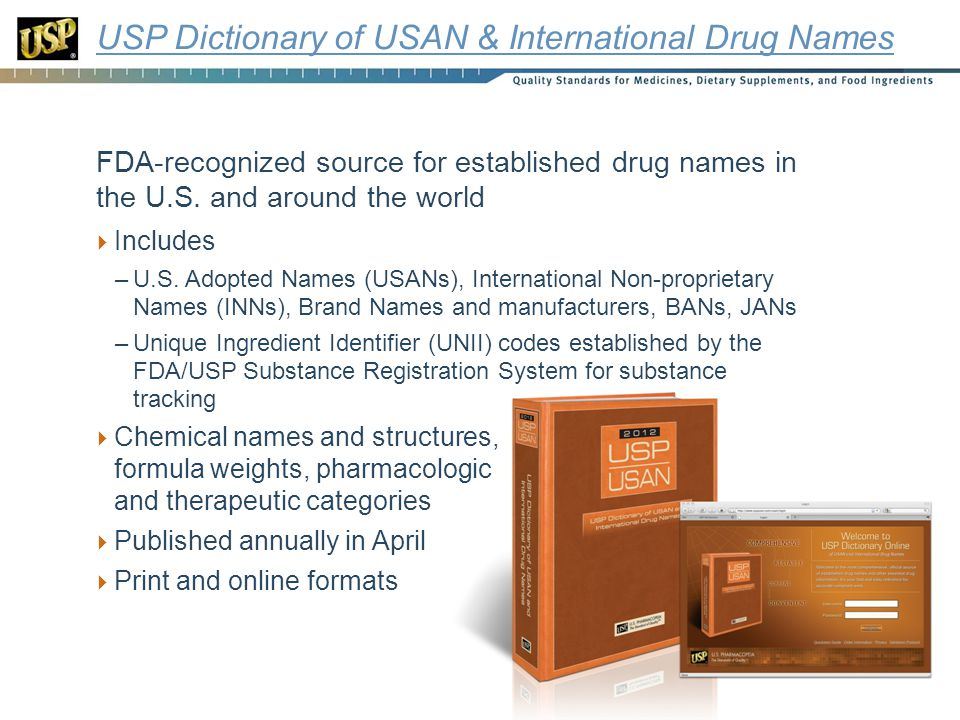 USP Dictionary of USAN & International Drug Names FDA-recognized source for established drug names in the U.S.
