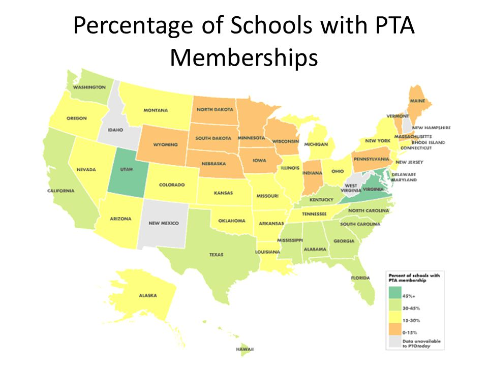 Percentage of Schools with PTA Memberships