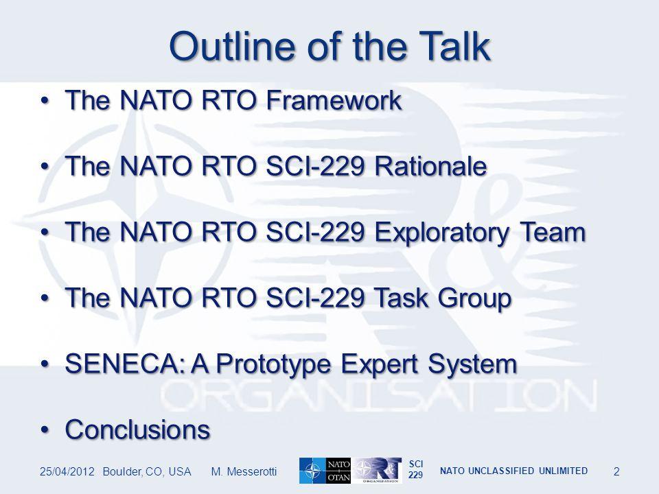 SCI 229 NATO UNCLASSIFIED UNLIMITED THE NATO RTO FRAMEWORK 25/04/2012Boulder, CO, USA M.