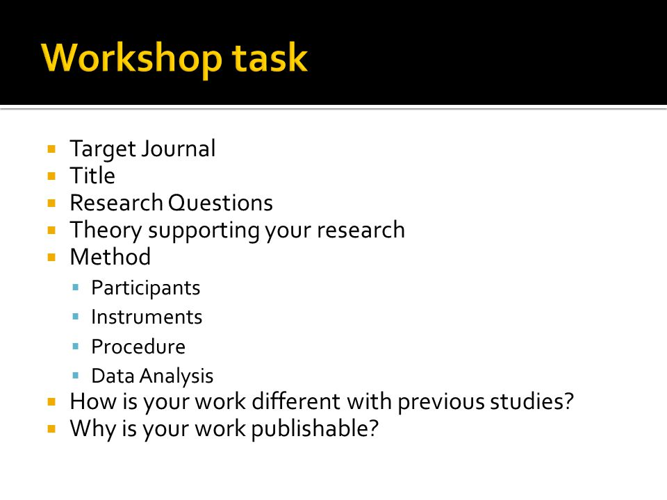 Target Journal Title Research Questions Theory supporting your research Method Participants Instruments Procedure Data Analysis How is your work diffe