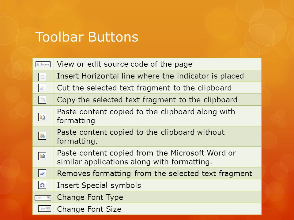 Toolbar Buttons View or edit source code of the page Insert Horizontal line where the indicator is placed Cut the selected text fragment to the clipboard Copy the selected text fragment to the clipboard Paste content copied to the clipboard along with formatting Paste content copied to the clipboard without formatting.