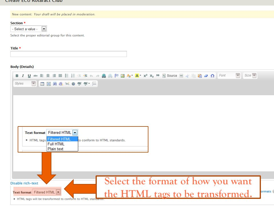 Select the format of how you want the HTML tags to be transformed.