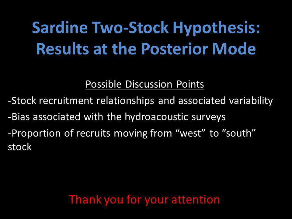 Sardine Two-Stock Hypothesis: Results at the Posterior Mode Possible Discussion Points -Stock recruitment relationships and associated variability -Bias associated with the hydroacoustic surveys -Proportion of recruits moving from west to south stock Thank you for your attention