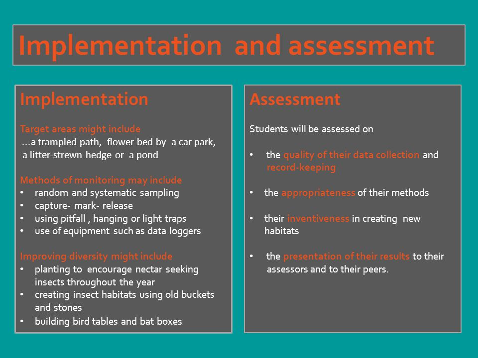 Implementation and assessment Assessment Students will be assessed on the quality of their data collection and record-keeping the appropriateness of their methods their inventiveness in creating new habitats the presentation of their results to their assessors and to their peers.