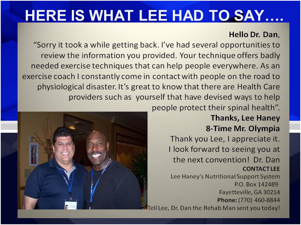 HERE IS WHAT LEE HAD TO SAY….