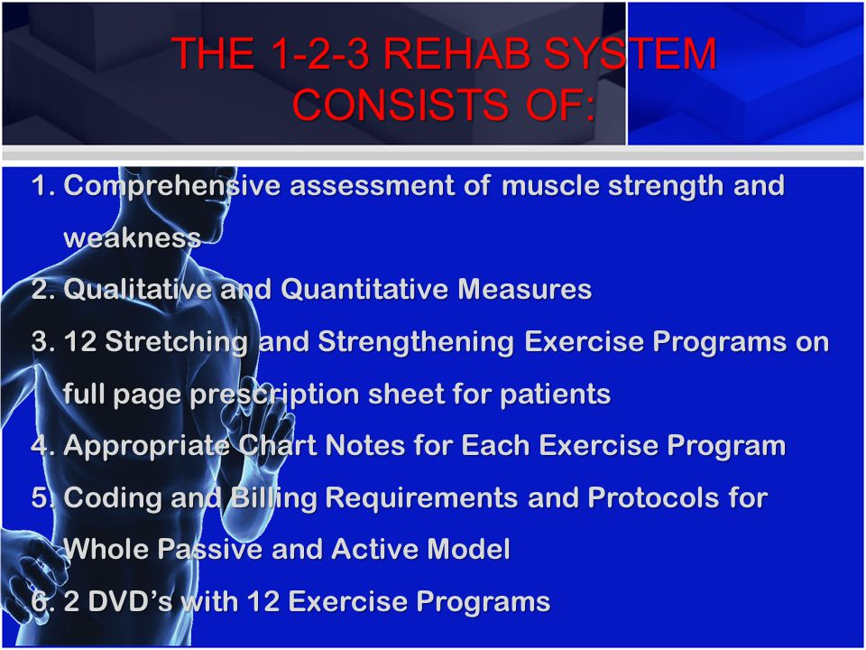 THE 1-2-3 REHAB SYSTEM CONSISTS OF: 1.Comprehensive 1.Comprehensive assessment of muscle strength and weakness 2.Qualitative 2.Qualitative and Quantit