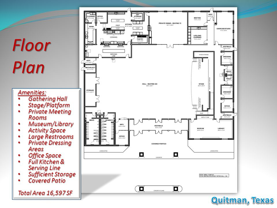 Floor Plan Amenities: Gathering Hall Gathering Hall Stage/Platform Stage/Platform Private Meeting Rooms Private Meeting Rooms Museum/Library Museum/Li