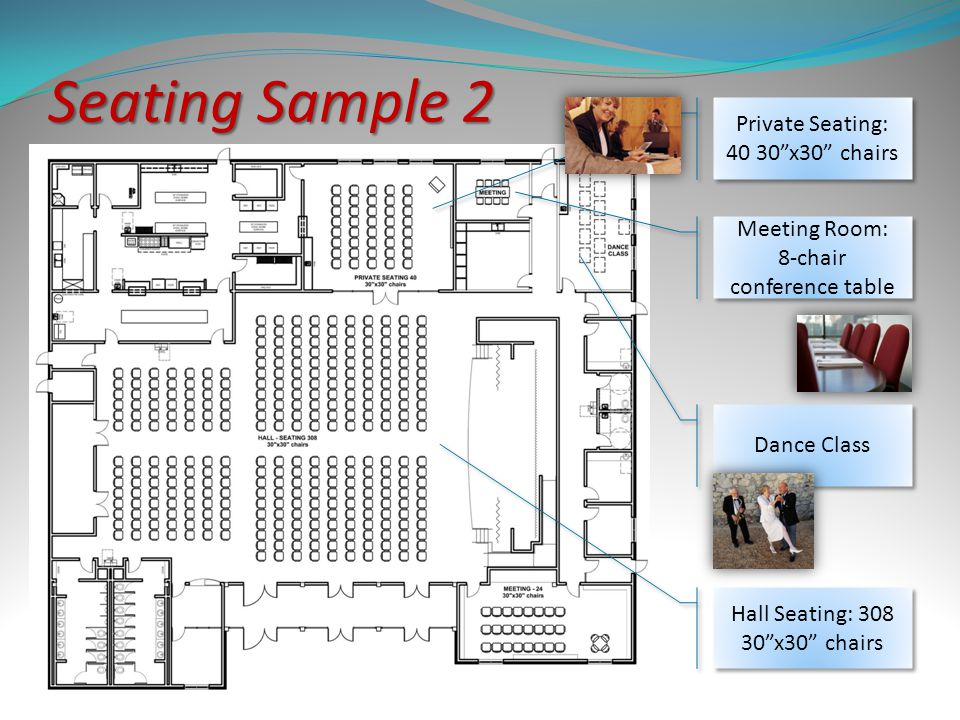 Private Seating: 40 30x30 chairs Dance Class Hall Seating: 308 30x30 chairs Meeting Room: 8-chair conference table Meeting Room: 8-chair conference ta