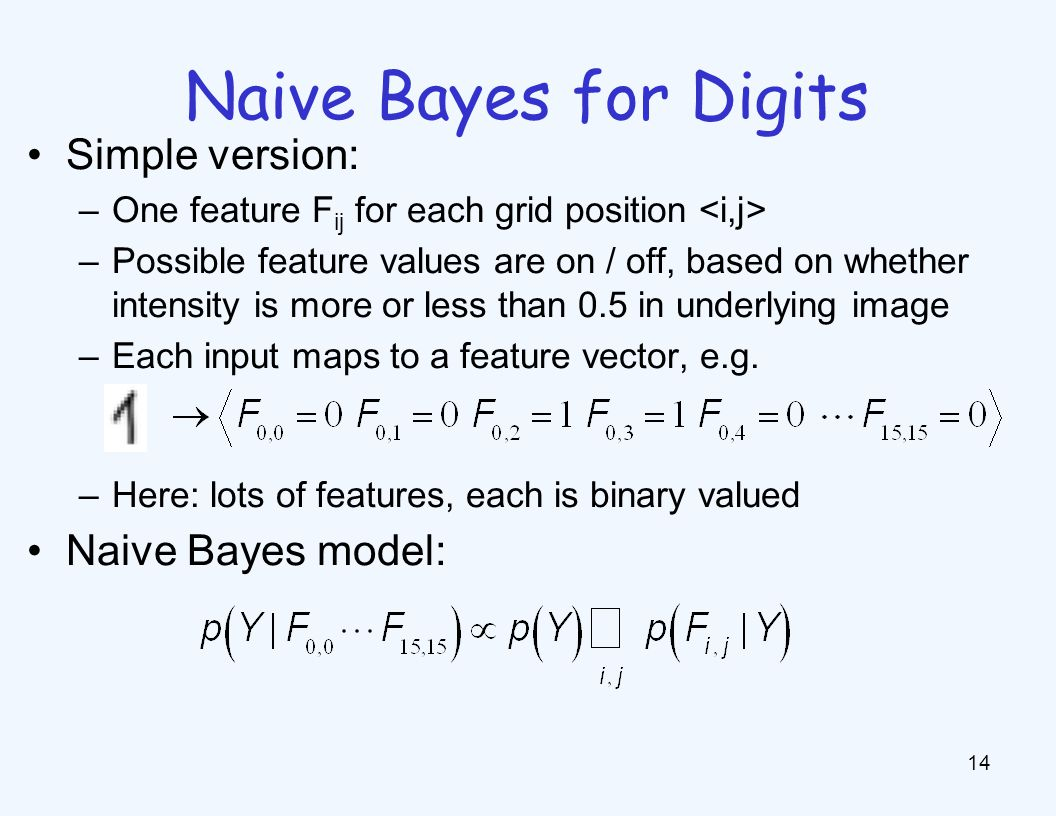 Naive Bayes for Digits 14 Simple version: –One feature F ij for each grid position –Possible feature values are on / off, based on whether intensity i