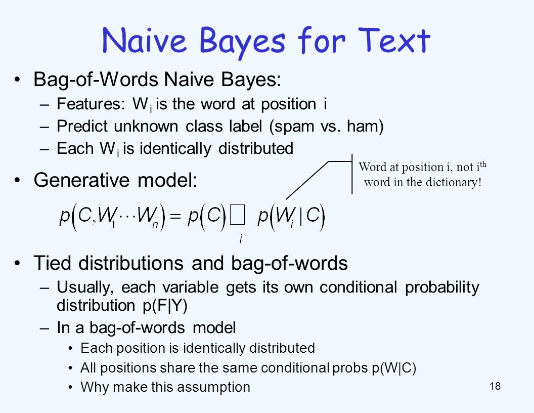 Naive Bayes for Text 18 Bag-of-Words Naive Bayes: –Features: W i is the word at position i –Predict unknown class label (spam vs. ham) –Each W i is id