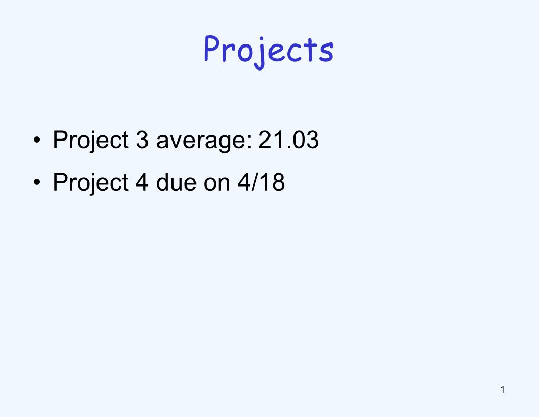 Project 3 average: 21.03 Project 4 due on 4/18 1 Projects