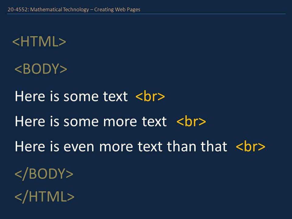 20-4552: Mathematical Technology – Creating Web Pages This is a heading Here is some more text Here is even more text than that