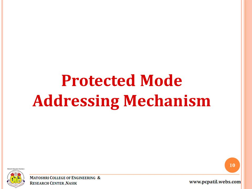 Protected Mode Addressing Mechanism 10