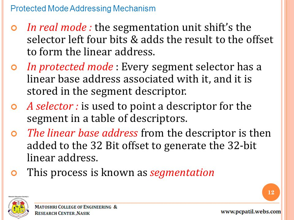 In real mode : the segmentation unit shifts the selector left four bits & adds the result to the offset to form the linear address.