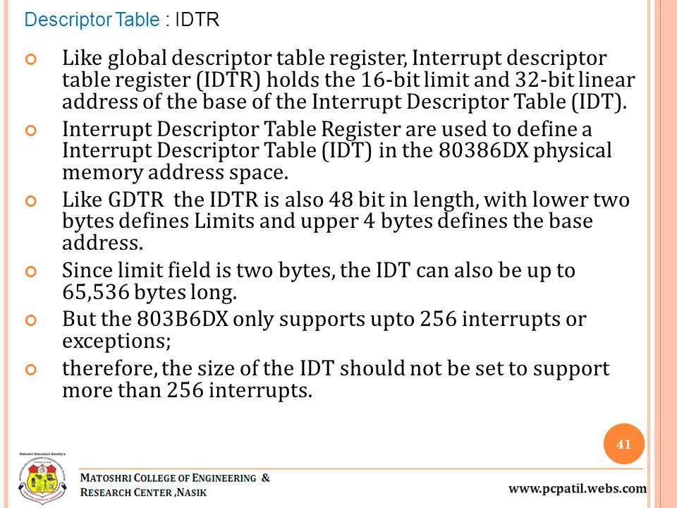 Like global descriptor table register, Interrupt descriptor table register (IDTR) holds the 16-bit limit and 32-bit linear address of the base of the Interrupt Descriptor Table (IDT).