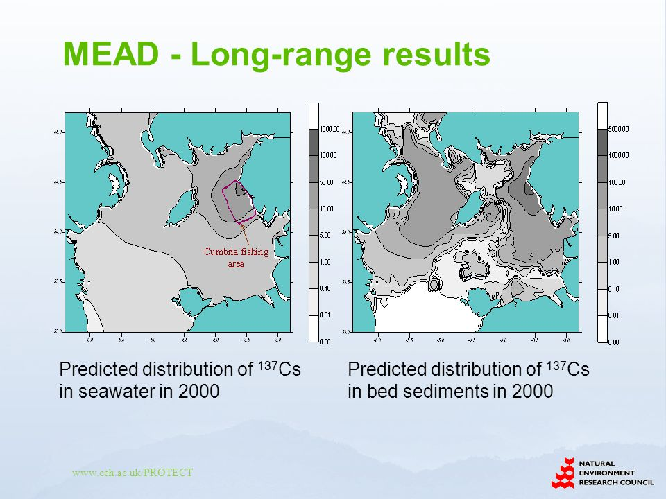 www.ceh.ac.uk/PROTECT Predicted distribution of 137 Cs in seawater in 2000 Predicted distribution of 137 Cs in bed sediments in 2000 MEAD - Long-range results