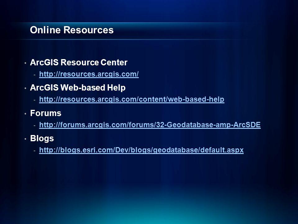 Online Resources ArcGIS Resource Center - http://resources.arcgis.com/ http://resources.arcgis.com/ ArcGIS Web-based Help - http://resources.arcgis.co