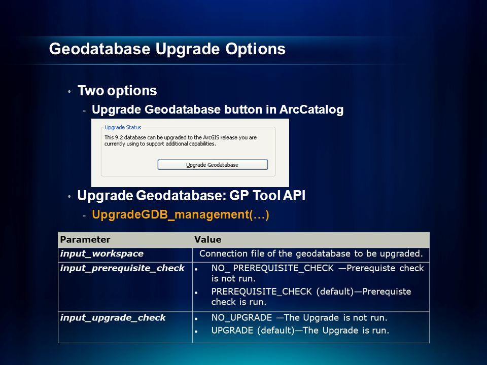 Geodatabase Upgrade Options Two options - Upgrade Geodatabase button in ArcCatalog Upgrade Geodatabase: GP Tool API - UpgradeGDB_management(…)