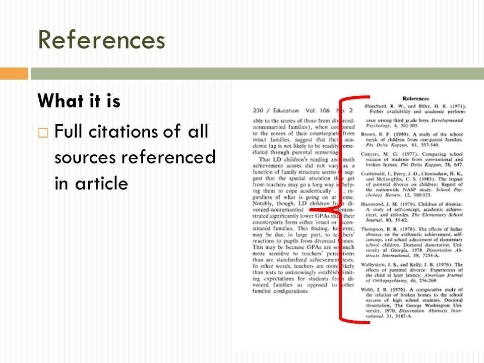 References What it is Full citations of all sources referenced in article