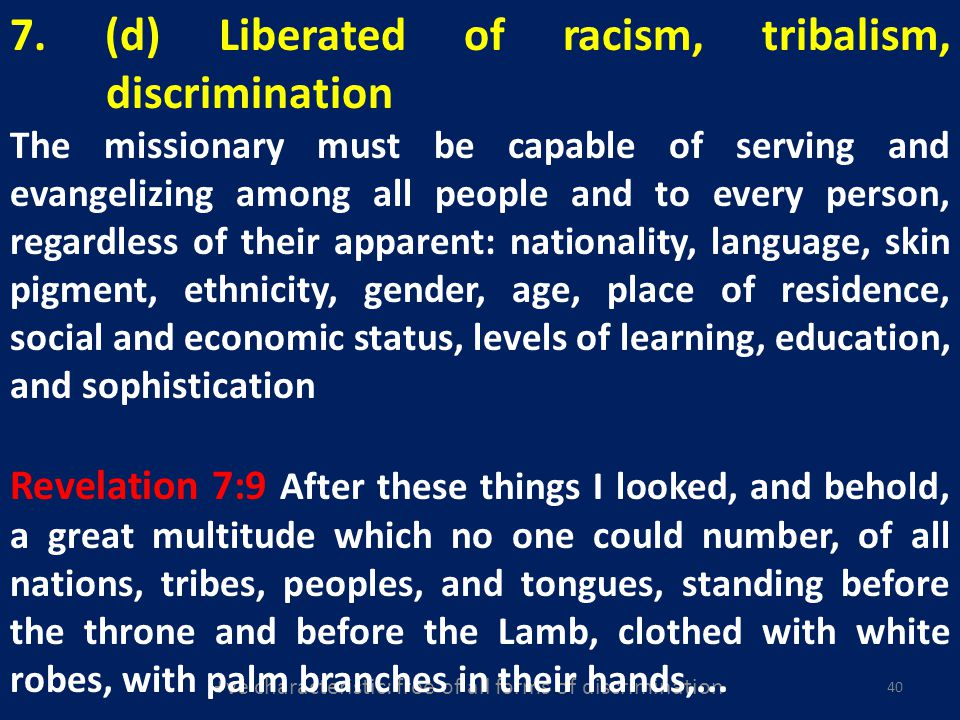 +ve characteristic: free of all forms of discrimination 40 7.