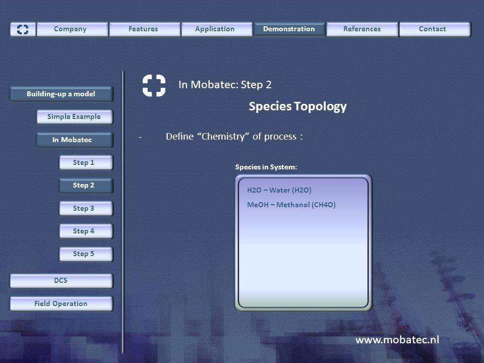 www.mobatec.nl ContactCompany FeaturesApplication Demonstration References In Mobatec: Step 2 Building-up a model Field Operation DCS Simple Example In Mobatec Step 2 Step 1 Species Topology -Define Chemistry of process : H2O – Water (H2O) MeOH – Methanol (CH4O) Species in System: Step 3 Step 4 Step 5