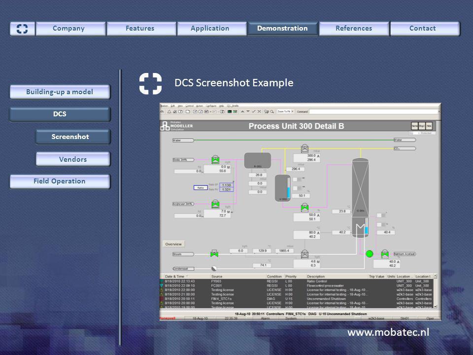 www.mobatec.nl ContactCompany FeaturesApplication Demonstration References DCS Field Operation Building-up a model DCS Screenshot Example Vendors Screenshot
