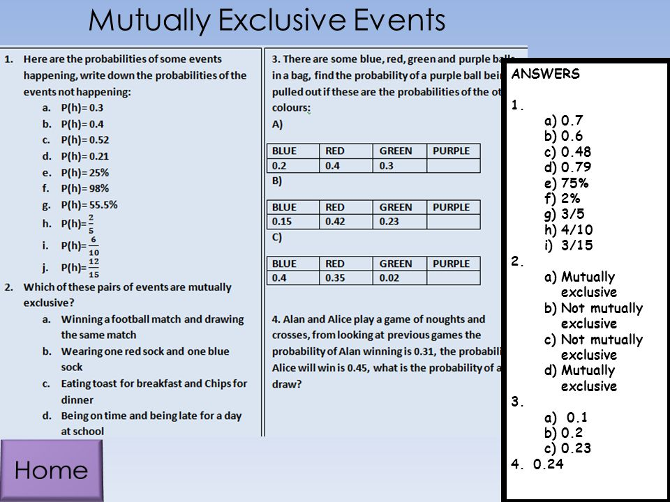 Mutually Exclusive Events ANSWERS 1.a)0.7 b)0.6 c)0.48 d)0.79 e)75% f)2% g)3/5 h)4/10 i)3/15 2.