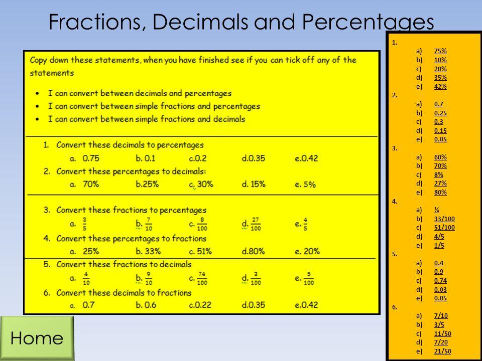 Fractions, Decimals and Percentages 1. a)75% b)10% c)20% d)35% e)42% 2. a)0.7 b)0.25 c)0.3 d)0.15 e)0.05 3. a)60% b)70% c)8% d)27% e)80% 4. a)¼ b)33/1