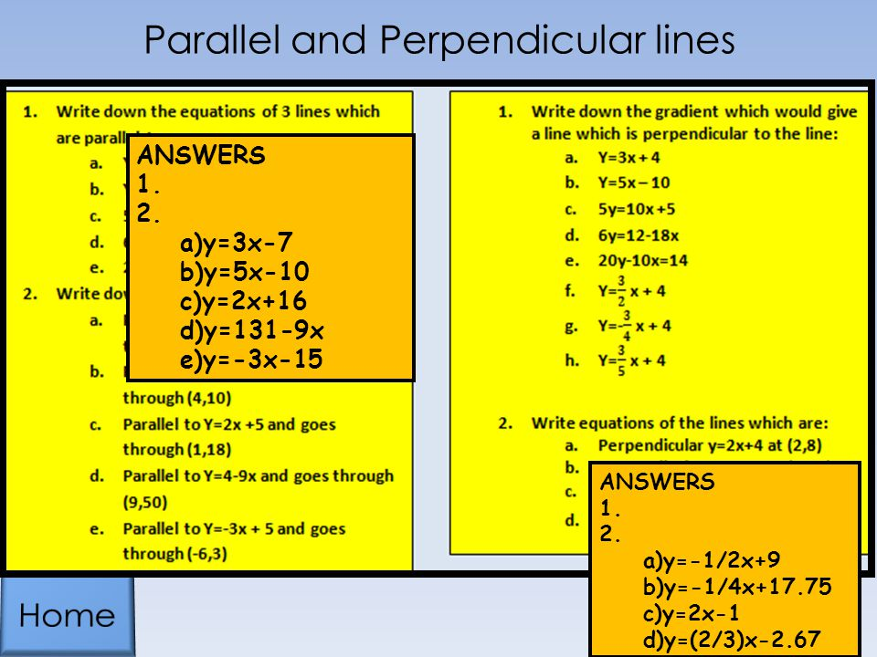 Parallel and Perpendicular lines ANSWERS 1.2.
