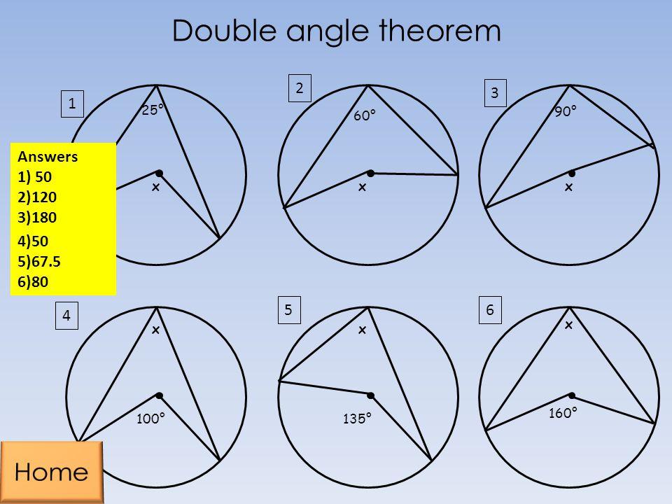 25° x 160° 100° 60° 135° 90° xx xxx 1 2 3 6 4 5 Answers 1) 50 2)120 3)180 4)50 5)67.5 6)80 Double angle theorem