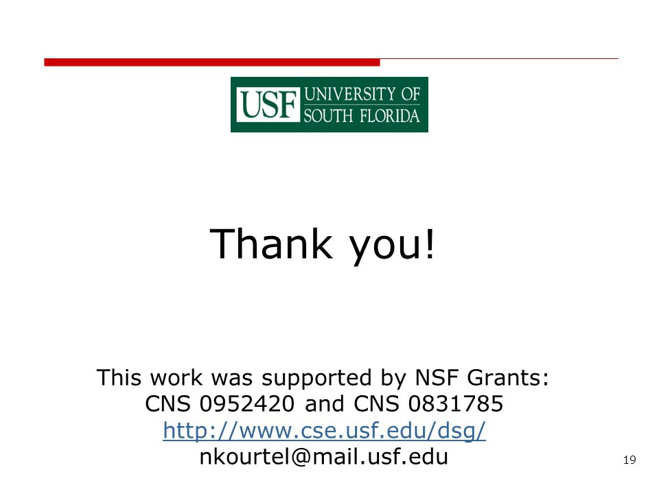 19 Thank you! This work was supported by NSF Grants: CNS 0952420 and CNS 0831785 http://www.cse.usf.edu/dsg/ nkourtel@mail.usf.edu http://www.cse.usf.