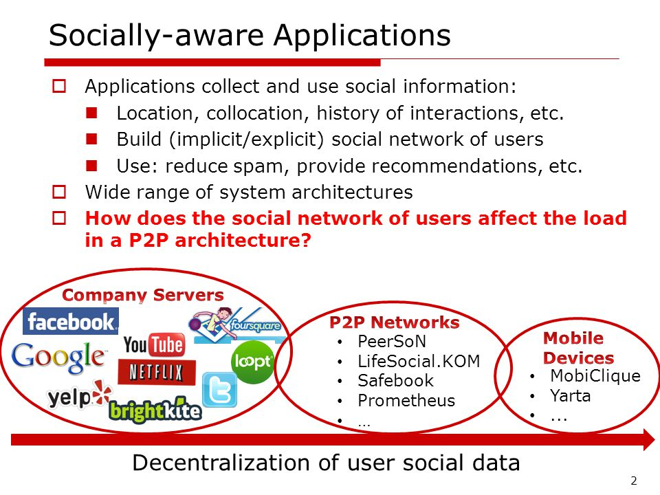 Socially-aware Applications Applications collect and use social information: Location, collocation, history of interactions, etc.