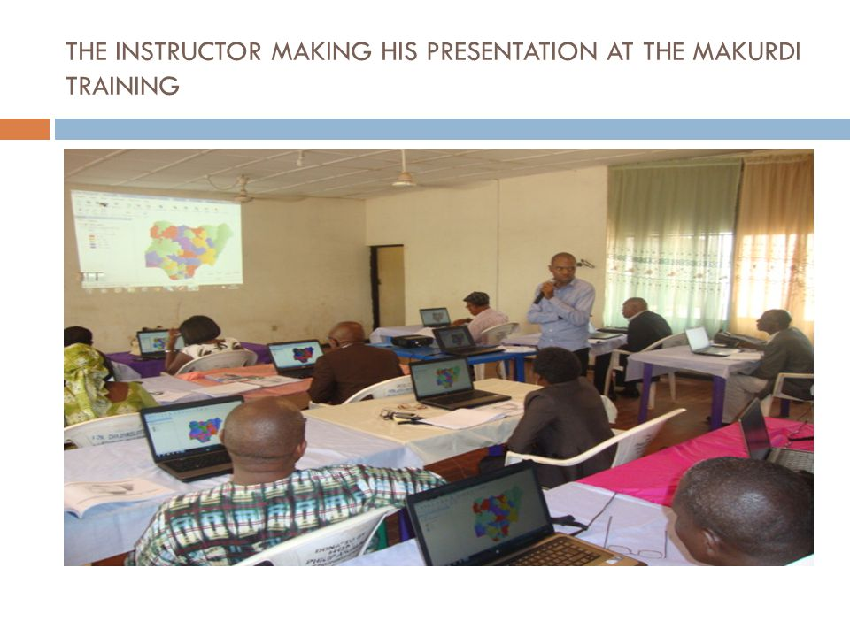 THE INSTRUCTOR MAKING HIS PRESENTATION AT THE MAKURDI TRAINING
