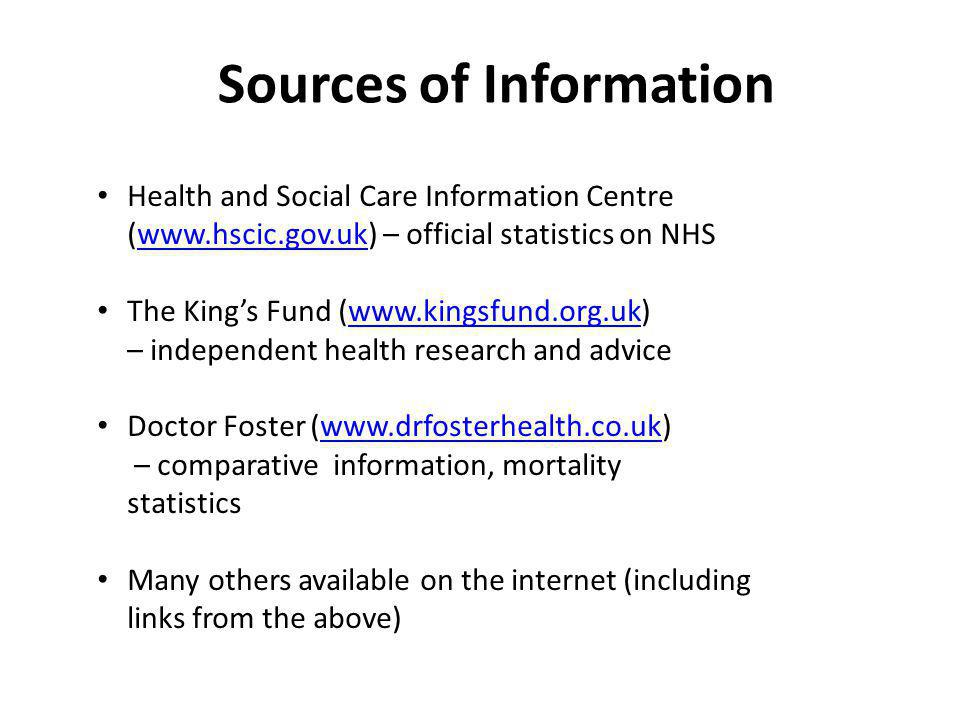 Sources of Information Health and Social Care Information Centre (www.hscic.gov.uk) – official statistics on NHSwww.hscic.gov.uk The Kings Fund (www.kingsfund.org.uk) – independent health research and advicewww.kingsfund.org.uk Doctor Foster (www.drfosterhealth.co.uk) – comparative information, mortality statisticswww.drfosterhealth.co.uk Many others available on the internet (including links from the above)